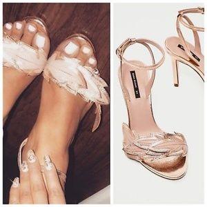 Zara Leather Rose Gold Heel Leaf Sandals Sz 5